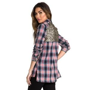 Free People Little Bit of Sugar Sequined Flannel M